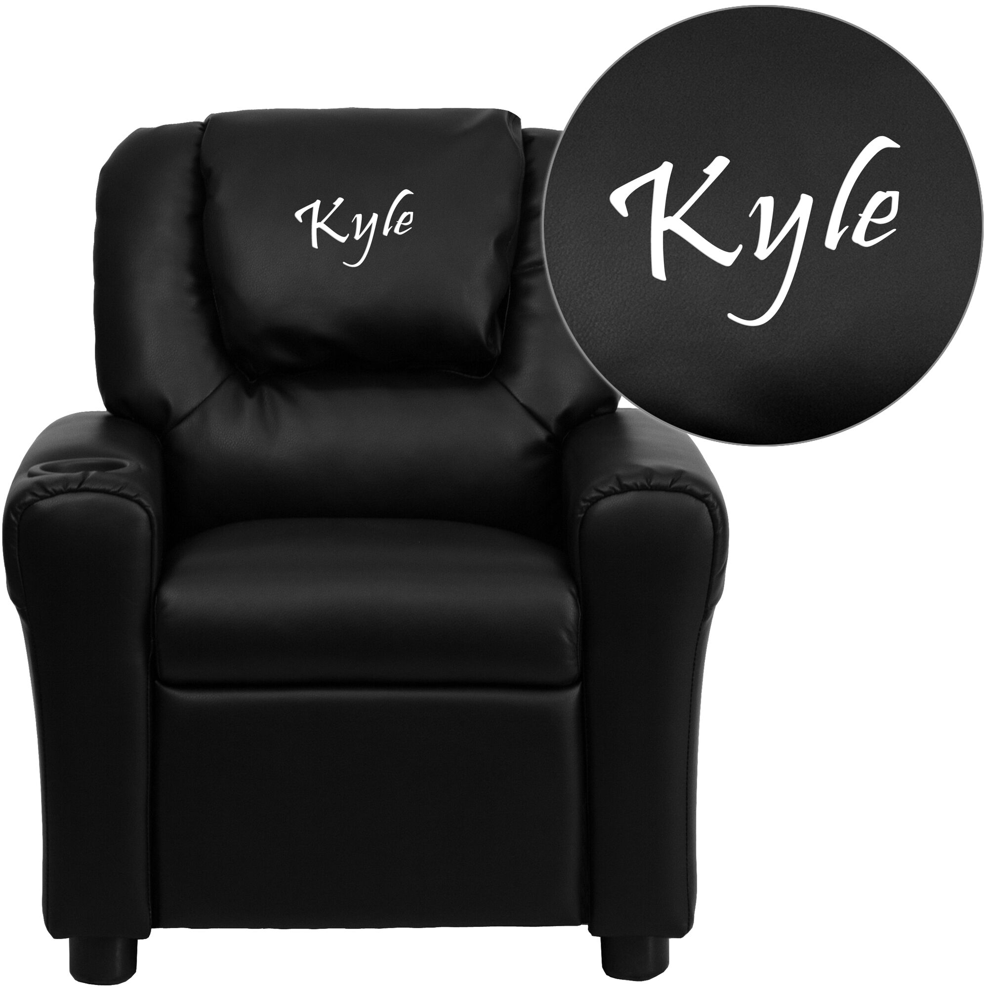 personalized black leathersoft kids recliner with cup holder and headrest