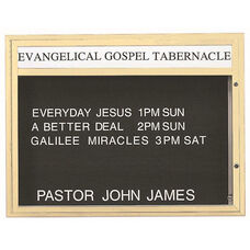 Single Sided Illuminated Community Board with Header and Ivory Powder Coat Finish - 36