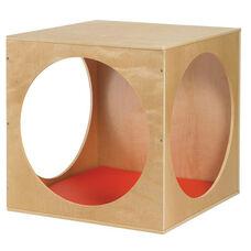 Birch Hardwood Three Solid Panels Playhouse Cube with Three Circular Cutouts and Foam Floor Mat