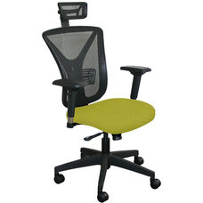 Fermata Executive Mesh Chair with Black Base and Headrest - Lime Fabric