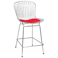Chrome Wire Counter Stool with Red Seat Pad