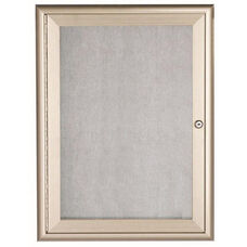 1 Door Enclosed Bulletin Board with Aluminum Waterfall Style Frame - Silver - 36
