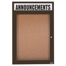 1 Door Indoor Enclosed Bulletin Board with Header and Bronze Anodized Aluminum Frame - 48