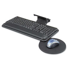 Safco® Adjustable Keyboard Platform with Swivel Mouse Tray - 18-1/2w x 9-1/2d - Black