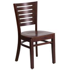 Walnut Finished Slat Back Wooden Restaurant Chair