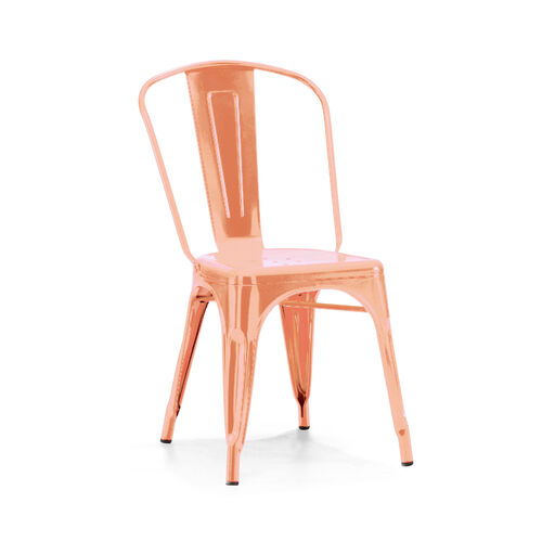 Our Dreux Chrome Rose Gold Stackable Steel Armless Side Chair - Set of 4 is on sale now.