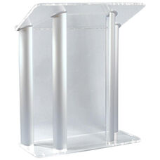 Contemporary Non-Sound Clear Acrylic and Silver Aluminum Lectern - 42