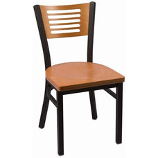 Jones River Series Wood Back Armless Chair with Steel Frame and Wood Seat - Natural