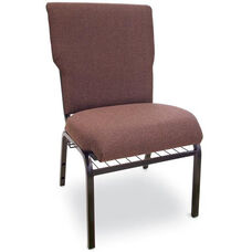 Auditorium Steel Frame Fabric Upholstered Stacking Chair - Espresso