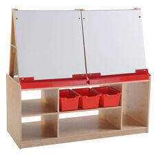 Four Station Dry Erase Board Art Easel with Birch Hardwood Storage Base