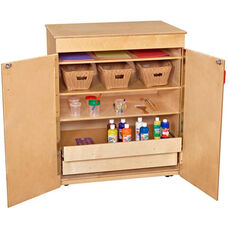 Wooden Mobile Locking Storage Cabinet with 3 Adjustable Shelves - 36