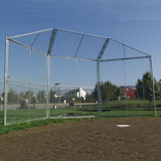 Portable Fifteen Gauge Galvanized Steel Framed Baseball Backstop with Hood - 360
