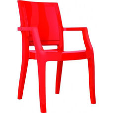 Arthur Polycarbonate Modern Stackable Dining Arm Chair - Glossy Red