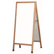 Extra Large A-Frame Sidewalk Board with White Melamine Marker Board and Clear Lacquer Finished Solid Red Oak Frame - 30