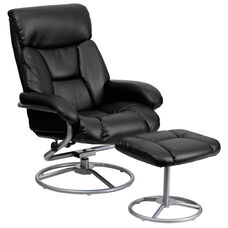 Contemporary Multi-Position Recliner and Ottoman with Metal Base in Black LeatherSoft