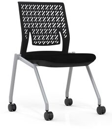 Thesis™ Flex Back Armless Chair with Fabric Seat - Set of 2 - Black