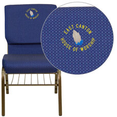 HERCULES™ Series Auditorium Chair - Chair with Storage - 19inch Wide Seat - Navy/Gold Vein Frame - Custom Logo/Text