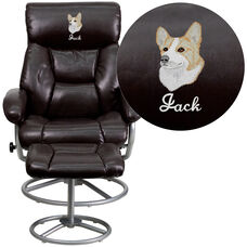 Embroidered Contemporary Brown Leather Recliner and Ottoman with Metal Base