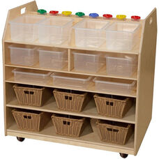 Wooden Trolley Mobile Art Cart with 12 Clear Plastic Trays - 37