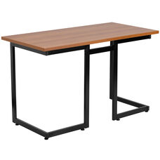 Cherry Computer Desk with Black Metal Frame