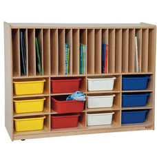 Tip-Me-Not Portfolio Storage Center with Twelve Multi-Colored Storage Trays - Assembled - 48