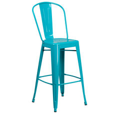 "Commercial Grade 30"" High Crystal Teal-Blue Metal Indoor-Outdoor Barstool with Back"
