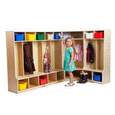 Birch Hardwood 3 Piece Coat Lockers with Benches Set - 18 Hooks and 16 Cubbies