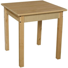 Solid Hardwood Square Table with Rounded Child Safe Corners and Non-Toxic Natural Finish - 24