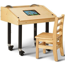 Adjustable Height Single Tablet Ergonomic Wooden Table with Casters - 27.5