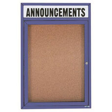 1 Door Indoor Illuminated Enclosed Bulletin Board with Header and Bronze Anodized Aluminum Frame - 24