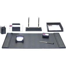 Classic Leather 8 Piece Desk Set - Black
