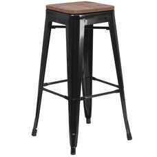 "30"" High Backless Black Metal Barstool with Square Wood Seat"