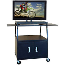 Black Height Adjustable Wide Body Pyramid Design Flat Panel TV Cart with Two Door Locking Cabinet and Two Pull-Out Side Shelves - 32