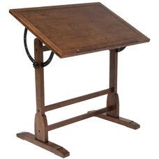 Vintage Height Adjustable Solid Wood Drafting Table - Rustic Oak