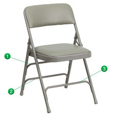 HERCULES Series Curved Triple Braced & Double Hinged Gray Vinyl Metal Folding Chair