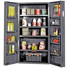 All-Welded Storage Cabinet with 16 Shelves - Gray