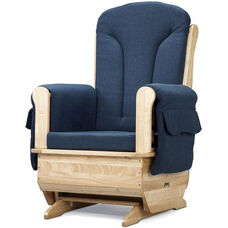 Wooden Glider Rocking Chair with Blue Polyester Fabric and Armrest Pockets - 30''W x 23.5''D x 43.5''H