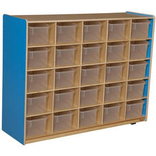 Wooden Storage Unit with 25 Clear Plastic Trays - Blueberry - 48