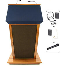 Patriot Plus Wireless 50 Watt Sound and Hand Held Mic Lectern - Walnut Finish - 31