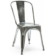 Dreux Vintage Dark Grey Stackable Steel Armless Side Chair - Set of 4