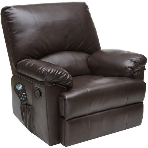 Relaxzen Rocker Recliner with Heat and Massage - Brown Marbled Leather
