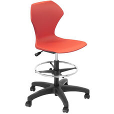 Apex Series Plastic Height Adjustable Swivel Stool with Foot Rest and 5 Star Base - Red Seat - 21