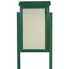 Green Single Hinged Door Plastic Lumber Message Center with Vinyl Surface and Post