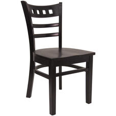 American Back Chair with Solid Wood Saddle Seat - Black