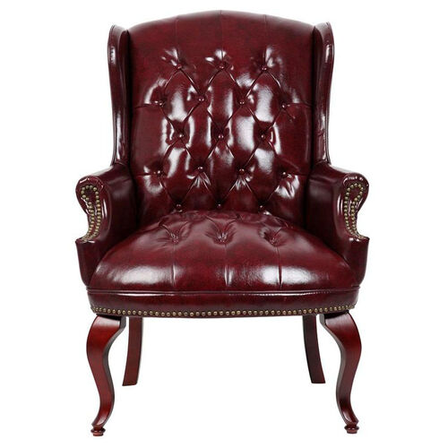 Our Traditional Button Tufted Wing Back Guest Chair - Oxblood Vinyl is on sale now.