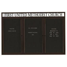 3 Door Outdoor Illuminated Enclosed Directory Board with Header and Black Anodized Aluminum Frame - 48
