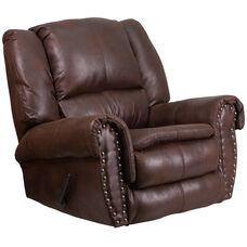 Contemporary Breathable Comfort Padre Espresso Fabric Rocker Recliner with Brass Accent Nails