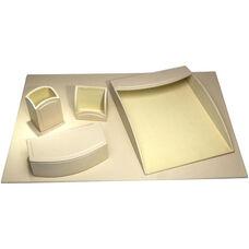 Colors Faux Leather 5 Piece Office Organizing Desk Set - Sandy Tan