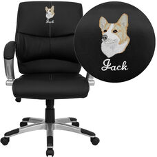 Embroidered Mid-Back Black LeatherSoft Contemporary Swivel Manager's Office Chair with Arms