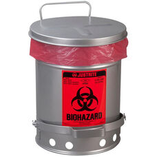 SoundGard™ 6 Gallon Steel Biohazard Waste Cans - Silver